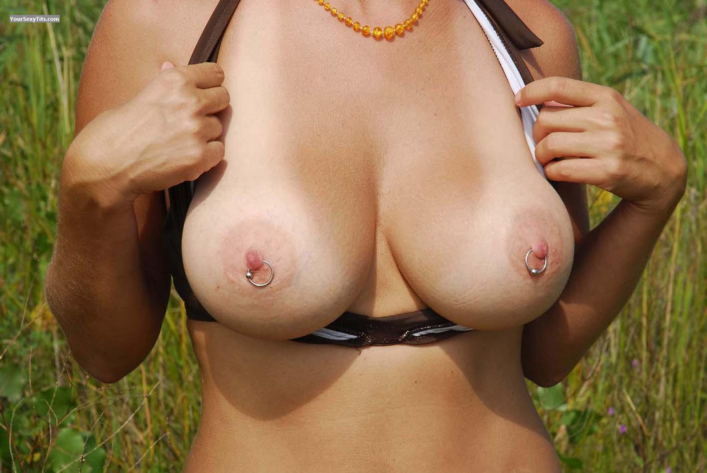 Tit Flash: Very Big Tits - Sensitive from United StatesPierced Nipples